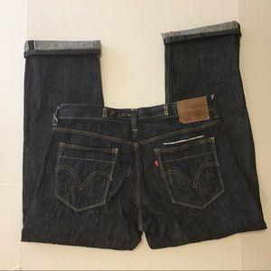 Levis 514 Selvedge Gray Jeans Cinch Back, 35 x 30